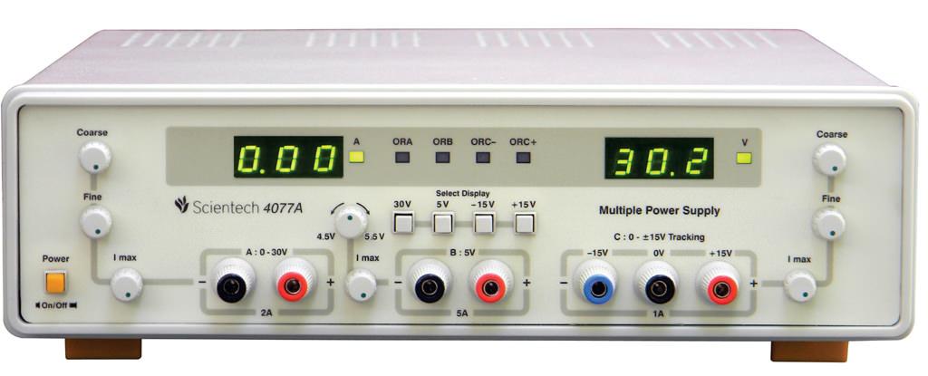 0 - 32V 2A, 15V 1A Tracking, 5V 5A Multiple Dc Power Supply Scientech 4077A